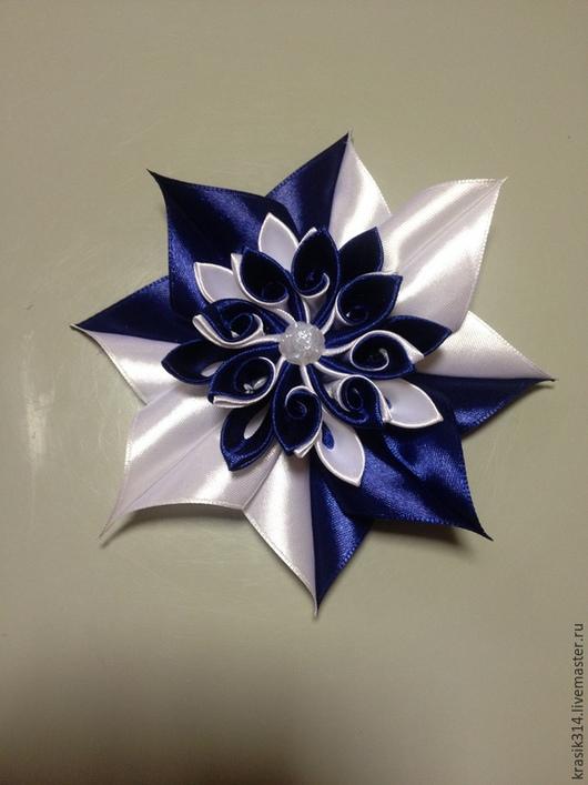 Заколки ручной работы. Ярмарка Мастеров - ручная работа. Купить Заколка-зажим сине-белая звезда. Handmade. Тёмно-синий