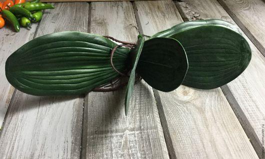 Материалы для флористики ручной работы. Ярмарка Мастеров - ручная работа. Купить Лист орхидеи(2). Handmade. Тёмно-зелёный, листва, проволока