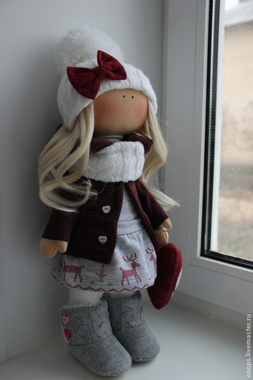 Коллекционные куклы ручной работы. Ярмарка Мастеров - ручная работа. Купить Интерьерная кукла. Handmade. Бордовый, текстильная кукла, флис