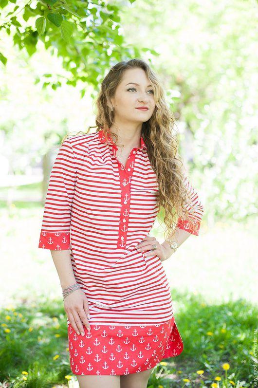 Платья ручной работы. Ярмарка Мастеров - ручная работа. Купить Новинка - Платье-рубашка - Морское - красный. Handmade. Комбинированный