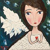 Картины и панно handmade. Livemaster - original item NEW!  Oil painting angel Bride white blue green. Handmade.