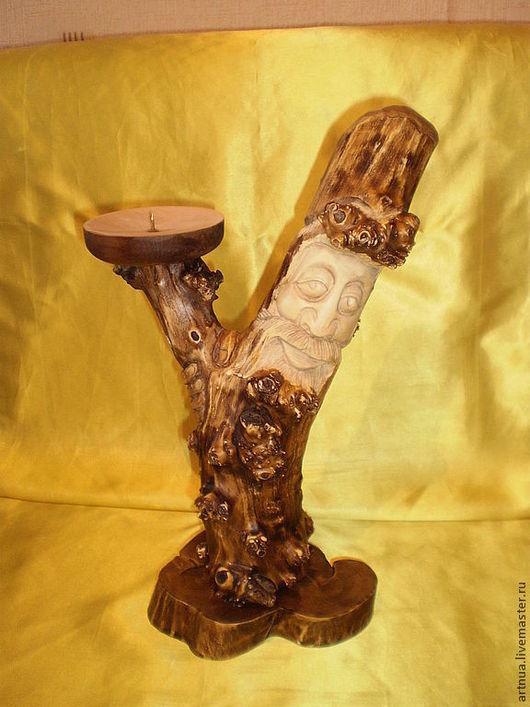 Подсвечники ручной работы. Ярмарка Мастеров - ручная работа. Купить Подсвечник. Handmade. Коричневый, дерево, подсвечник, деревянный подсвечник, дед
