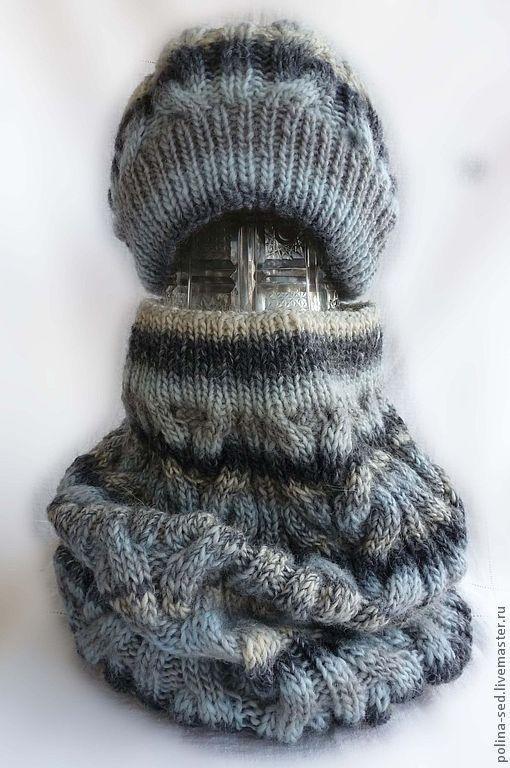 """Комплекты аксессуаров ручной работы. Ярмарка Мастеров - ручная работа. Купить Комплект шапка + шарф-снуд """"Светло-серый мрамор"""". Handmade."""