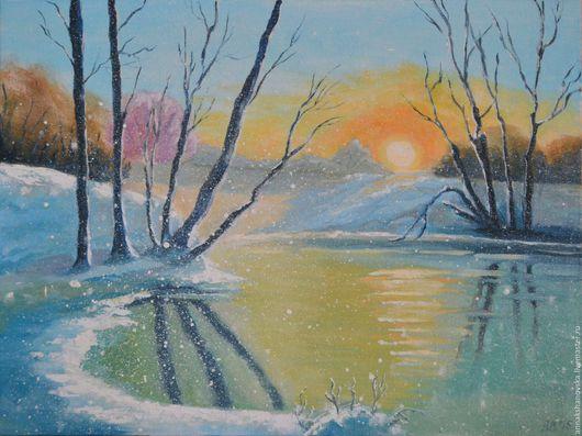 """Пейзаж ручной работы. Ярмарка Мастеров - ручная работа. Купить Картина """"Зимняя сказка"""". Handmade. Голубой, зимняя сказка, пейзаж"""