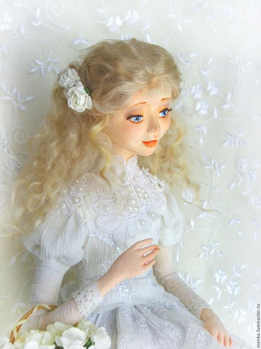 Коллекционные куклы ручной работы. Ярмарка Мастеров - ручная работа. Купить Ангел с розами. Handmade. Белый, кукла на заказ, бусины