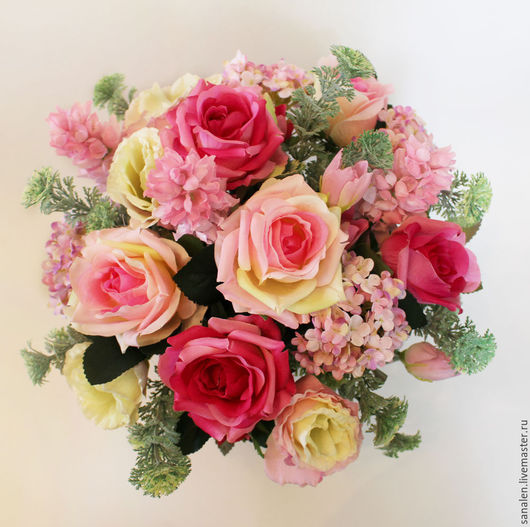 Интерьерные композиции ручной работы. Ярмарка Мастеров - ручная работа. Купить Цветочная композиция в розовом цвете. Handmade. Розовый
