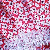 """Материалы для творчества ручной работы. Ярмарка Мастеров - ручная работа Ткань плательная Софт """"Белые цветочки"""". Handmade."""