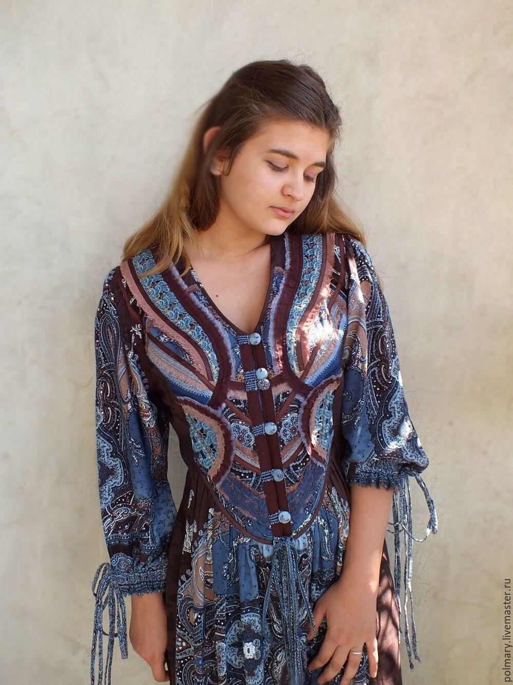 4eb1b143456 Dresses handmade. Livemaster - handmade. Buy Boho dress-chocolate-blue   butterfly ...