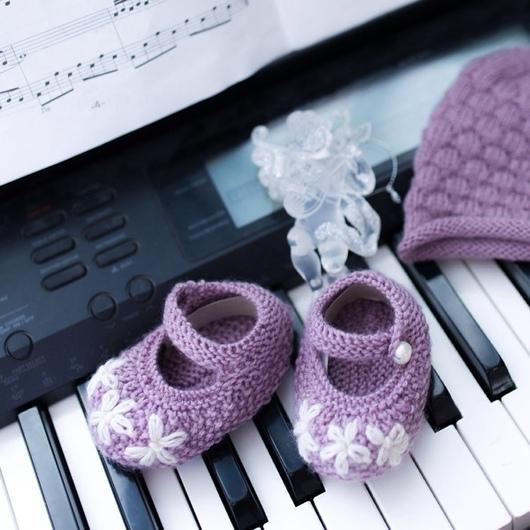 Для новорожденных, ручной работы. Ярмарка Мастеров - ручная работа. Купить Вязаные пинетки-балетки для маленькой принцессы. Handmade. балетки