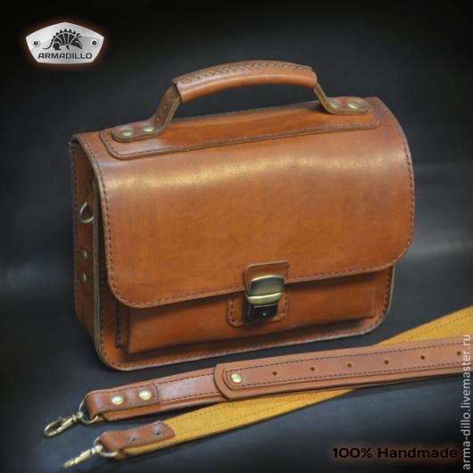 Мужской кожаный портфель ручной работы.