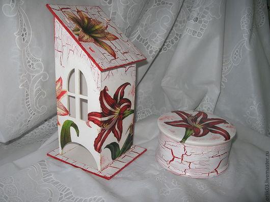 Кухня ручной работы. Чайный домик и сахарница `Лилии`
