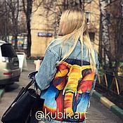 """Одежда ручной работы. Ярмарка Мастеров - ручная работа Джинсовая куртка """"Слон"""" с ручной росписью. Handmade."""