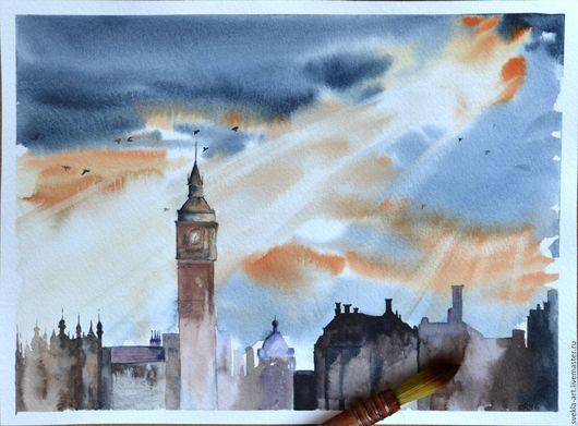 """Пейзаж ручной работы. Ярмарка Мастеров - ручная работа. Купить Картина акварелью """"Лондон"""". Handmade. Комбинированный, лондон, небо, лучи"""