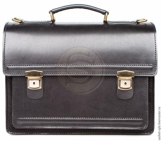 """Мужские сумки ручной работы. Ярмарка Мастеров - ручная работа. Купить Мужской кожаный портфель """" Оптима-1"""" черный. Handmade."""