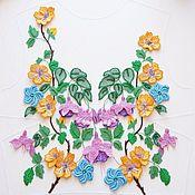 Аппликации ручной работы. Ярмарка Мастеров - ручная работа Аппликации: Люневильская вышивка Цветы 100 долларов. Handmade.