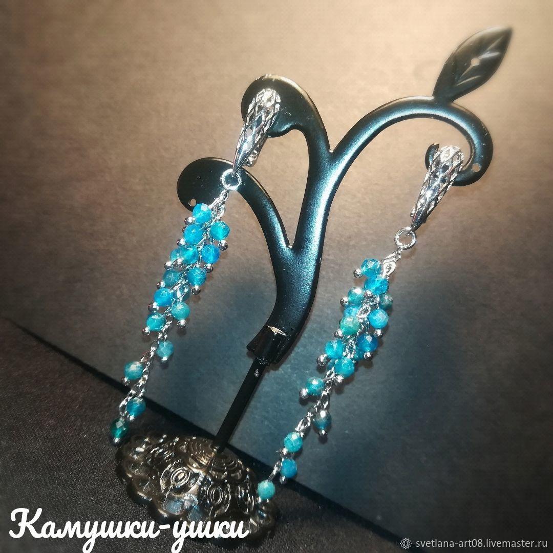 Waterfall earrings with aquamarine, Earrings, Sergiev Posad,  Фото №1