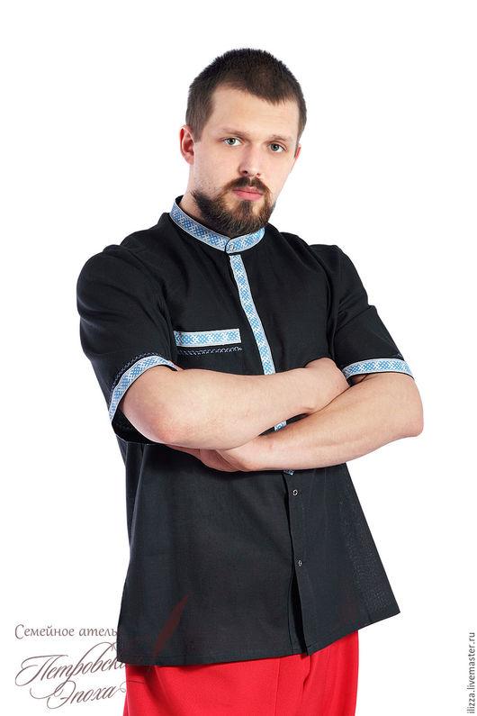 Для мужчин, ручной работы. Ярмарка Мастеров - ручная работа. Купить летняя рубашка в русском стиле 4. Handmade. Черный