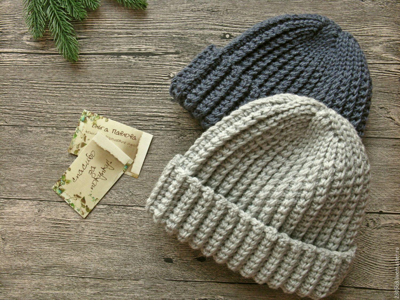 шапка вязаная мужская с отворотом купить в интернет магазине на