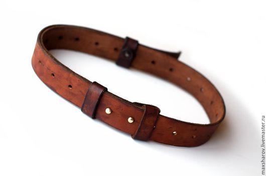 Пояса, ремни ручной работы. Ярмарка Мастеров - ручная работа. Купить Кожаный ремень коричневый на кобурных кнопках № 132 минимализм. Handmade.