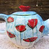 """Посуда ручной работы. Ярмарка Мастеров - ручная работа Чайник заварочный """"маки"""". Handmade."""