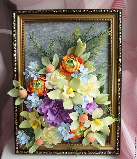Картины цветов ручной работы. Ярмарка Мастеров - ручная работа. Купить Картина с цветами из полимерной глины. Handmade. Салатовый