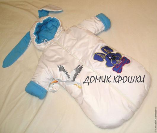 """Одежда ручной работы. Ярмарка Мастеров - ручная работа. Купить Комбинезон-конверт для новорожденного """"Синий Зайка"""". Handmade. Белый, в роддом"""