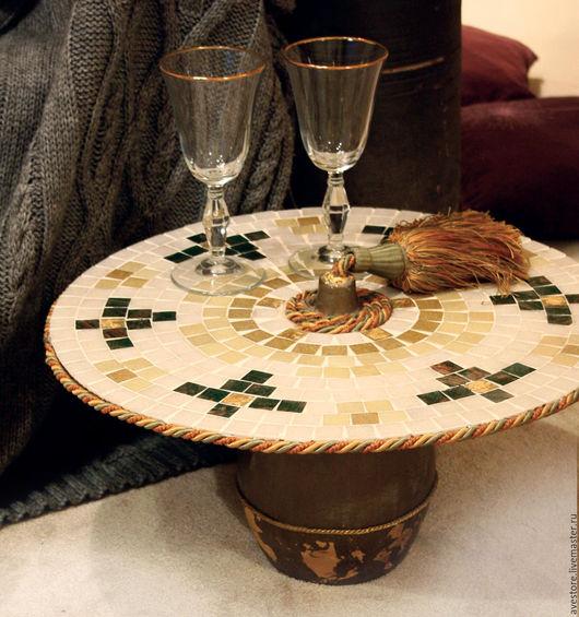Мебель ручной работы. Ярмарка Мастеров - ручная работа. Купить Кофейный столик(мозаичный, серый). Handmade. Столик для завтрака, столик кофейный