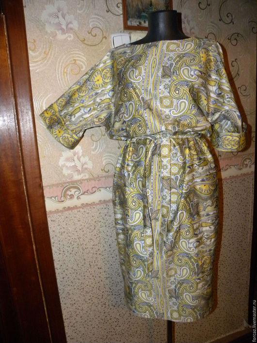 Платья ручной работы. Ярмарка Мастеров - ручная работа. Купить Платье с цельнокроеным рукавом. Handmade. Комбинированный, воротник лодочка