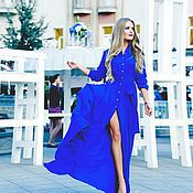 Одежда handmade. Livemaster - original item Blue floor-length dress. Handmade.