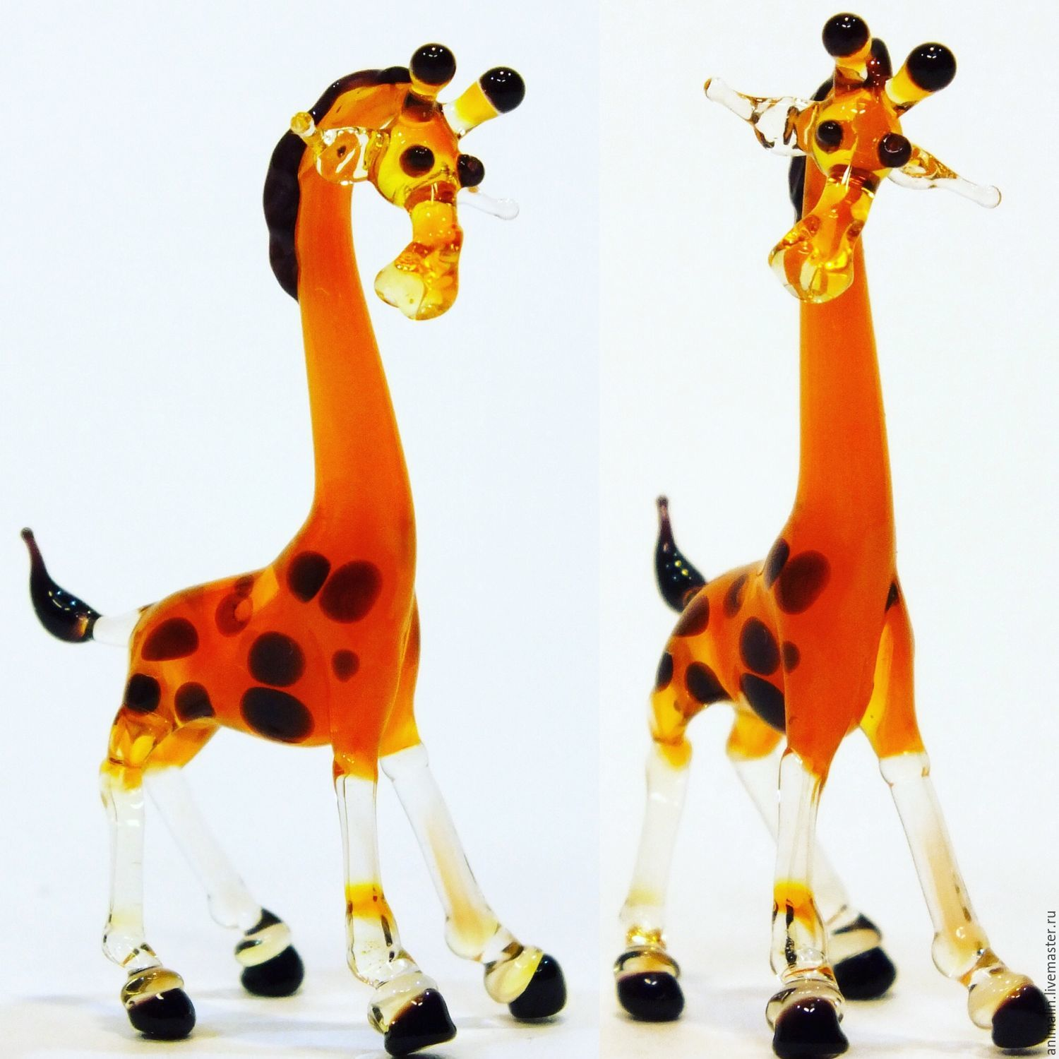 Collectible micro figurine made of colored glass Giraffe from there , Miniature figurines, Moscow,  Фото №1