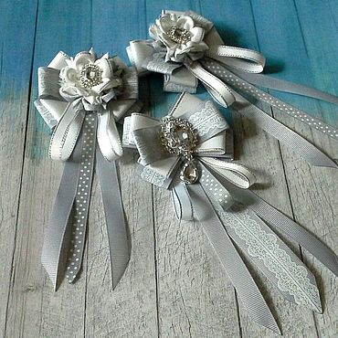 Works for children handmade. Livemaster - original item Gray school set for September 1 bows and tie brooch. Handmade.
