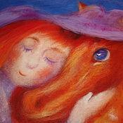 """Картины и панно ручной работы. Ярмарка Мастеров - ручная работа Картина из шерсти """"Я люблю рыжую лошадку"""" (репродукция). Handmade."""