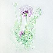 Картины и панно handmade. Livemaster - original item Lilac poppy, watercolor buy, watercolor paintings. Handmade.