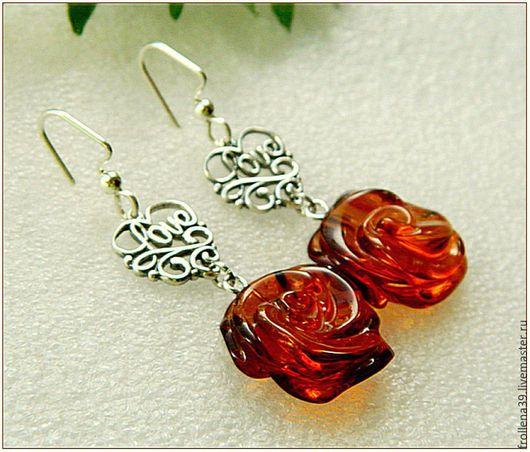 """Серьги ручной работы. Ярмарка Мастеров - ручная работа. Купить Серьги """"Розы для любви""""  янтарь серебро. Handmade. Янтарь"""
