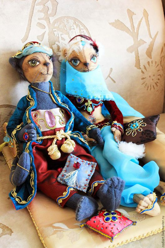 Коллекционные куклы ручной работы. Ярмарка Мастеров - ручная работа. Купить Султан и Шахразада. Handmade. Бирюзовый, тильда кошка