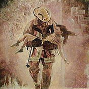 Картины и панно handmade. Livemaster - original item Oil painting Fireman. Handmade.