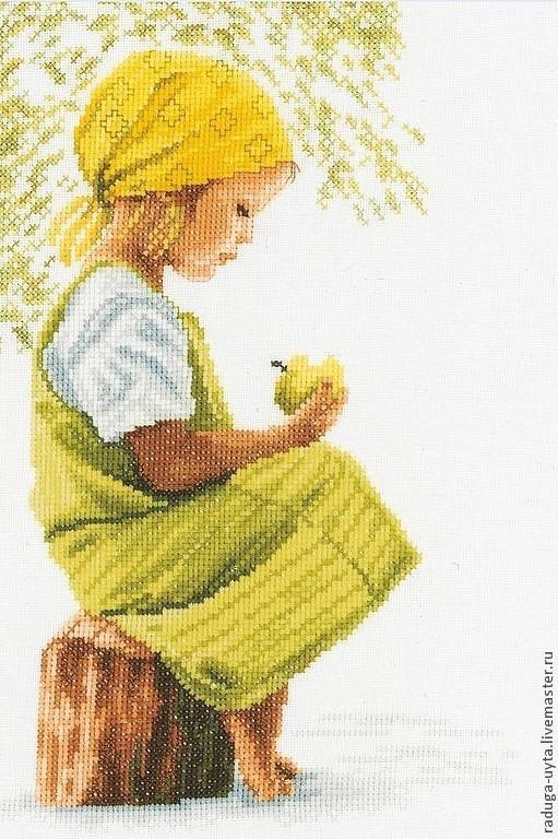 Люди, ручной работы. Ярмарка Мастеров - ручная работа. Купить Девочка с яблоком. Handmade. Картина в детскую, вышивка детям