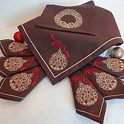 Christmas decorations handmade. Livemaster - original item Christmas Set Tablecloth and Napkins with Embroidery