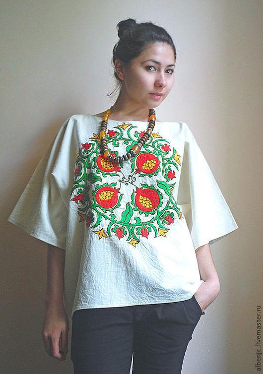 """Этническая одежда ручной работы. Ярмарка Мастеров - ручная работа. Купить рубаха """"Гранат"""". Handmade. Бежевый, рубаха, восточный стиль"""