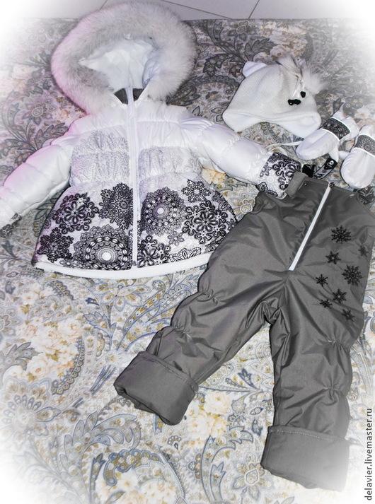 """Одежда для девочек, ручной работы. Ярмарка Мастеров - ручная работа. Купить Зимний/демисезонный комплект """"Снежность"""". Handmade. Белый, полукомбинезон, мембрана"""