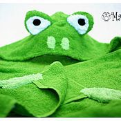 Для дома и интерьера ручной работы. Ярмарка Мастеров - ручная работа Детское полотенце с капюшоном - Лягушка. Handmade.