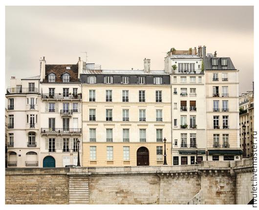 Париж фото постер для интерьера, Картина в нейтральных тонах `Осенняя набережная `,  Ануфриева Елена