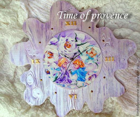 Часы для дома ручной работы. Ярмарка Мастеров - ручная работа. Купить Пионовые ангелы. Картина на настенных часах.. Handmade. Разноцветный