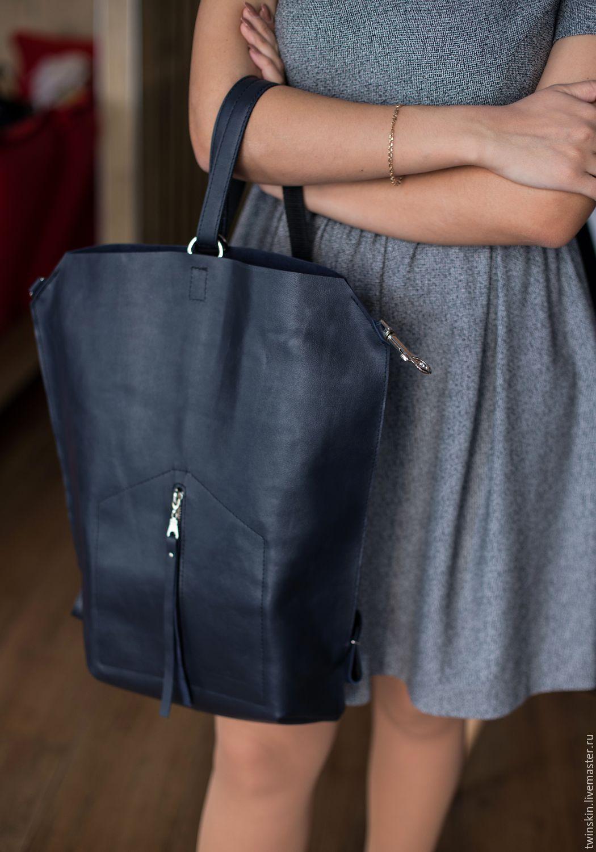 e880ac6e628c ... кожаный Рюкзак кожаный городской, Оригами Домик, темно синий, рюкзак- трансформер, рюкзак хипстер Рюкзак кожаный женский ...