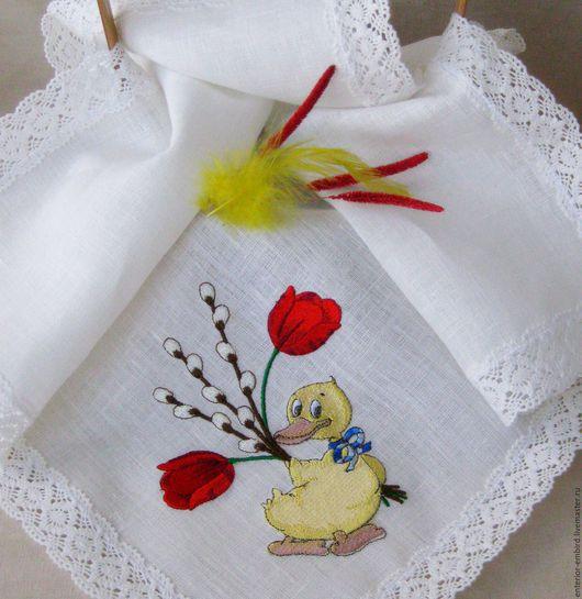 """Подарки на Пасху ручной работы. Ярмарка Мастеров - ручная работа. Купить Салфетка пасхальная """" Цыплёнок с тюльпанами""""-льняная. Handmade."""