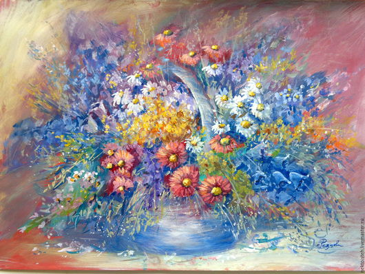 Картины цветов ручной работы. Ярмарка Мастеров - ручная работа. Купить Лето. Цветы. (акрил,гуашь.бумага 30 на 40 см). Handmade.