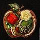 Броши ручной работы. Ярмарка Мастеров - ручная работа. Купить Брошь Райское яблочко. Handmade. Ярко-красный, райский сад