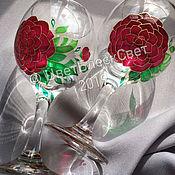 Бокалы ручной работы. Ярмарка Мастеров - ручная работа Бокалы для вина Камелия пара. Handmade.