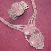 Украшения ручной работы. Ярмарка Мастеров - ручная работа Комплект с родонитом Розовый фламинго. Handmade.