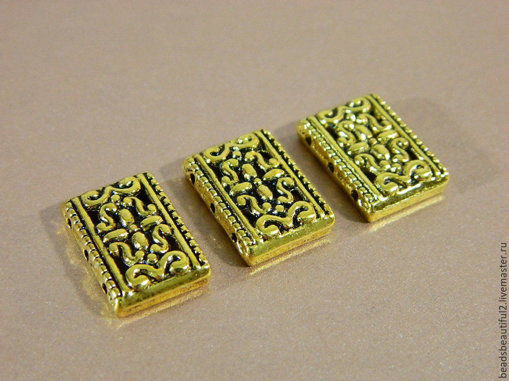 Separator beads on 3 strands of antique gold 18 x 12 mm, 2 PCs, Accessories4, Saratov,  Фото №1